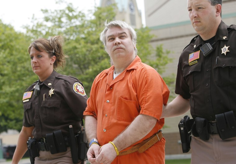 Steven Avery is escorted to the Manitowoc County Courthouse for his sentencing, June 1, 2007, in Manitowoc, Wis. (Photo by Dan Powers/Post-Crescent/AP)