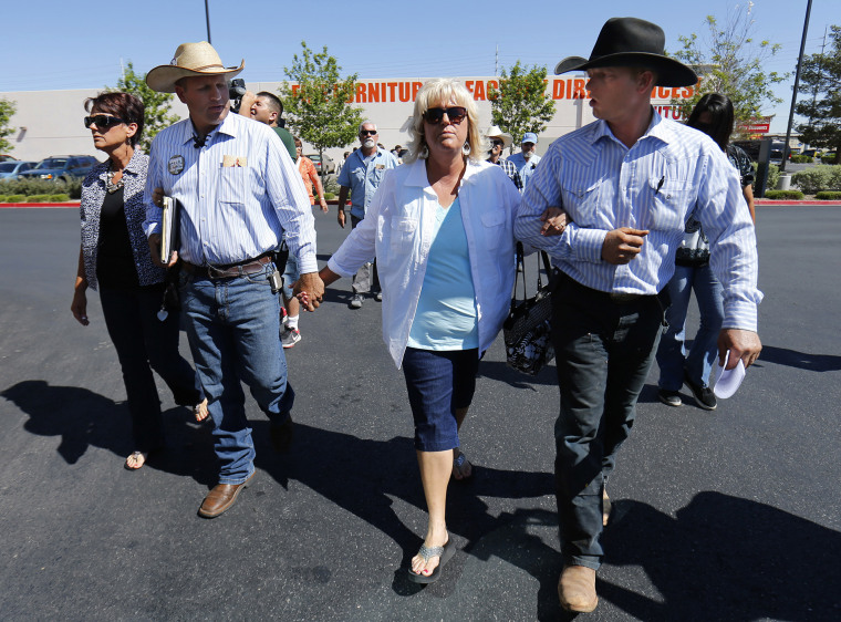Cliven Bundy's sisters, Lillie Spencer and Margaret Houston walk with Bundy's sons Ammon and Ryan to file criminal complaints against the Bureau of Land Management at the Las Vegas Metropolitan Police Department, May 2, 2014. (Photo by Mike Blake/Reuters)