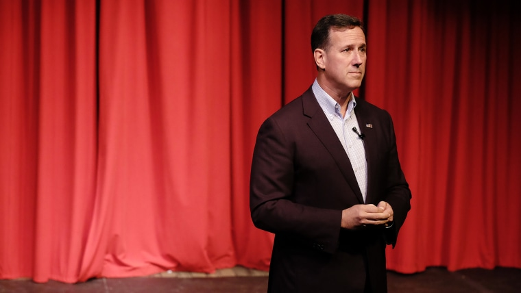 Republican presidential candidate and former U.S. Sen. Rick Santorum (R-PA) speaks at a town hall meeting, Oct. 7, 2015, at Briar Cliff University, a Catholic university in Sioux City, Iowa. (Photo by Jerry Mennenga/ZUMA)