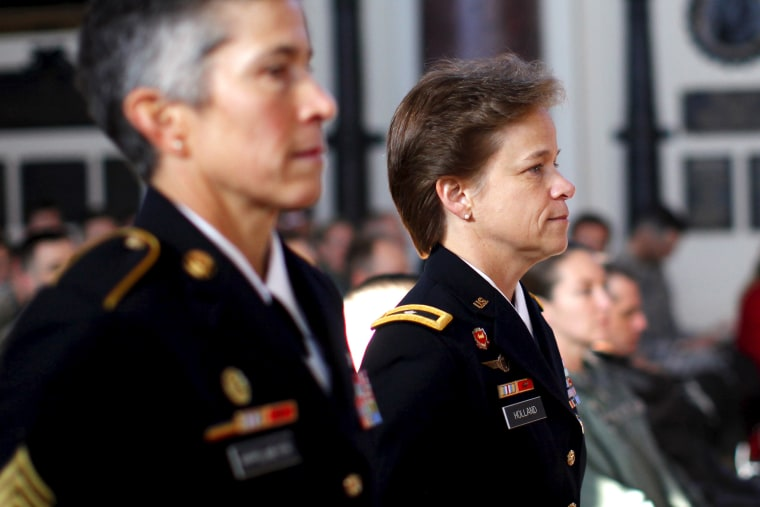 U.S. Brigadier General Diana Holland (R) arrives for a ceremony where she assumed the role as the first female Commandant of Cadets at the U.S. Military Academy at West Point, New York, Jan. 5, 2016. (Photo by Mike Segar/Reuters)