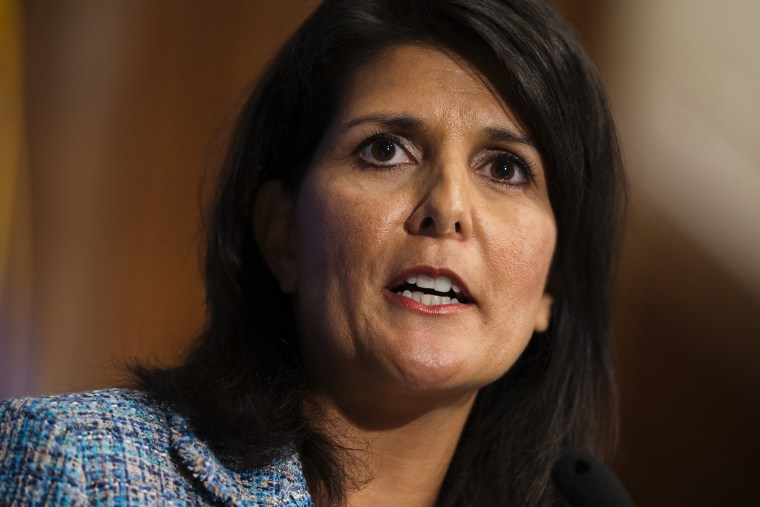 """Gov. Nikki Haley, R- S.C., delivers a speech on \""""Lessons from the New South\"""" during a luncheon at the National Press Club, Sept. 2, 2015, in Washington. (Photo by Evan Vucci/AP)"""