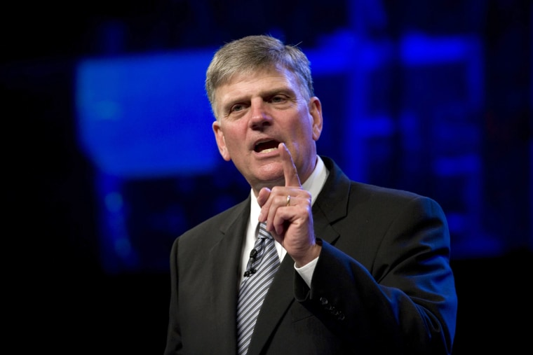 Evangelical leader Rev. Franklin Graham speaks at the First Baptist Church Woodstock about President Obama's Muslim roots, Aug 1, 2010, Ga. (Photo by Robin Rayne Nelson/ZUMA)