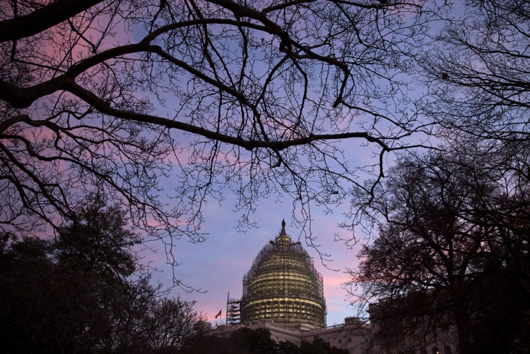 The U.S. Capitol building stands at daybreak in Washington, D.C., on Dec. 11, 2015. (Photo by Drew Angerer/Bloomberg/Getty)