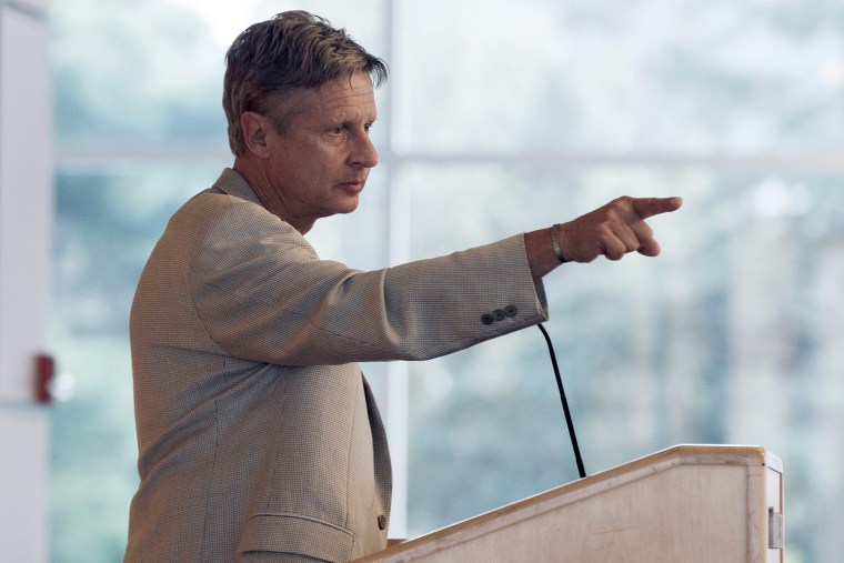 Gary Johnson addresses an audience of students and the public at Macalester College, Sept. 21, 2012 in St. Paul, Minn. (Photo by Jim Mone/AP)