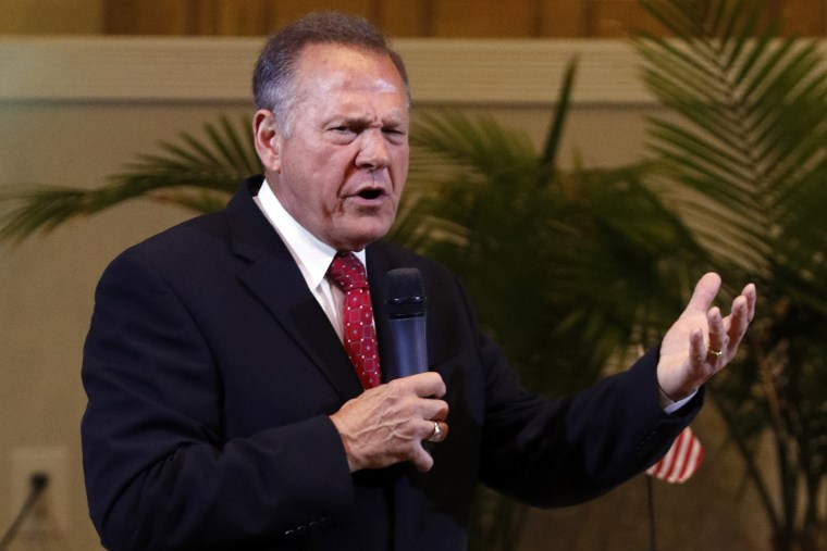 Alabama Supreme Court Chief Justice, Roy Moore, speaks to the congregation of Kimberly Church of God, June 28, 2015, in Kimberley, Ala. (Photo by Butch Dill/AP)