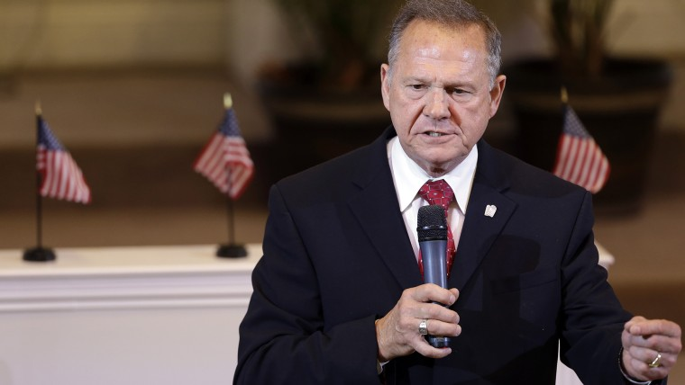 Alabama Supreme Court Chief Justice Roy Moore speaks to the congregation of Kimberly Church of God, June 28, 2015, in Kimberley, Ala. (Photo by Butch Dill/AP)