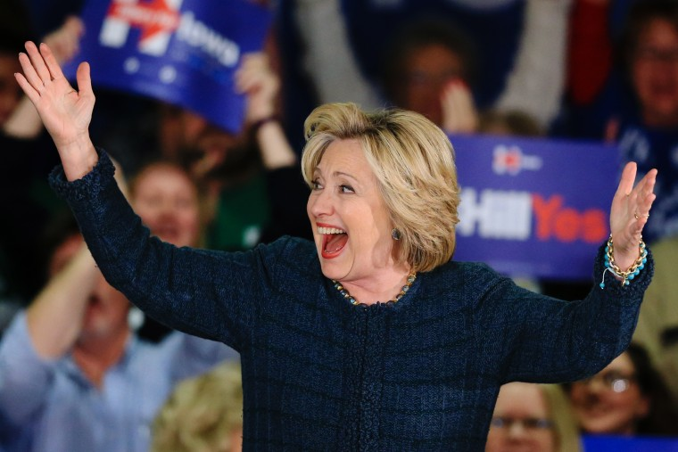 Democratic presidential candidate Hillary Clinton greets supporters during a campaign stop at Iowa Western Community College in Council Bluffs, Iowa, Jan. 5, 2016. (Photo by Nati Harnik/AP)
