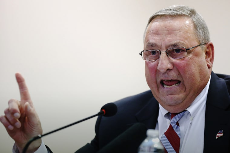 In this Oct. 2015 file photo, Republican Gov. Paul LePage speaks at a town hall meeting in Auburn, Maine. (Photo by Robert F. Bukaty/AP)