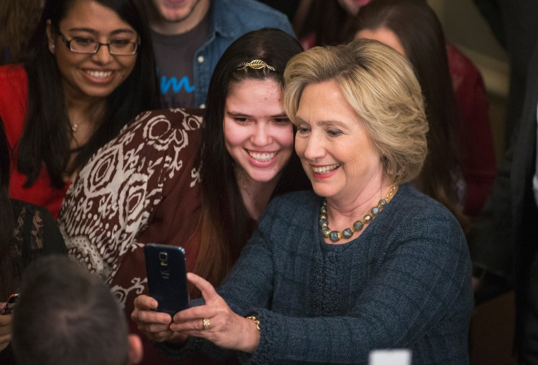 Democratic presidential candidate Hillary Clinton greets guests gathered for a town hall meeting at the Orpheum Theater on Jan. 5, 2016 in Sioux City, Ia. (Photo by Scott Olson/Getty)
