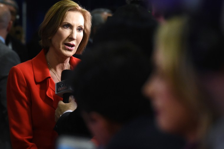 Republican presidential candidate Carly Fiorina talks to reporters in the spin room following the CNN presidential debate on Dec. 15, 2015 in Las Vegas, Nev. (Photo by Ethan Miller/Getty)