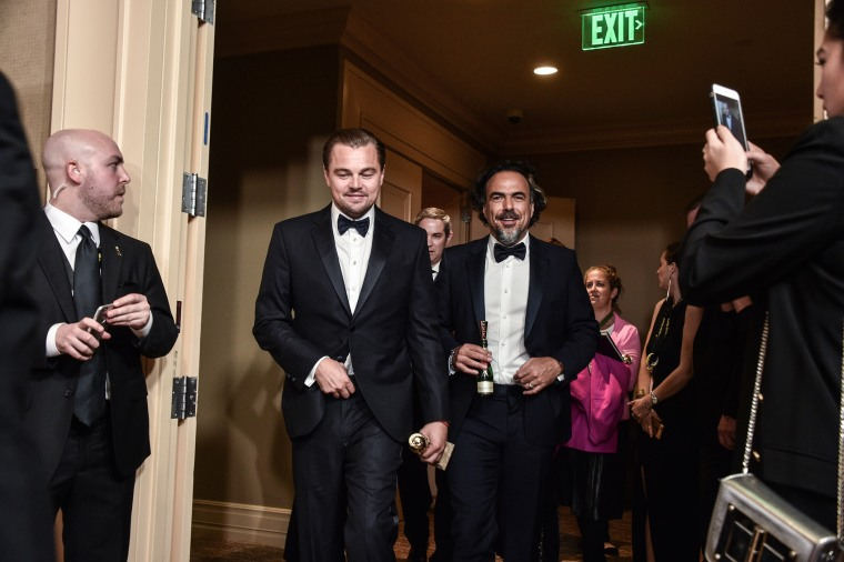 Alejandro Iñárritu, winner for Best Director - Motion Picture for 'The Revenant,' and Leonardo DiCaprio, winner of Best Performance by an Actor in a Motion Picture - Drama for 'The Revenant,' Jan. 10, 2016. (Photo by George Pimentel/WireImage/Getty)