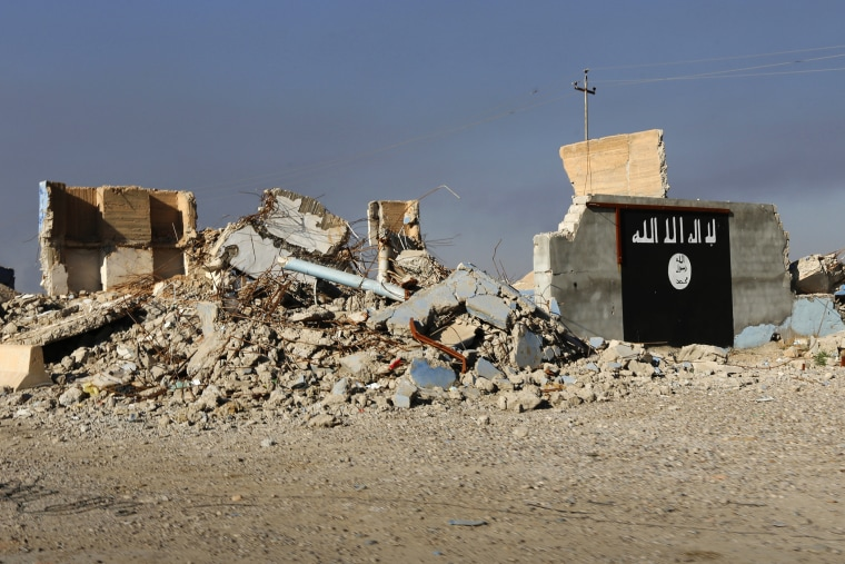 A destroyed building with a wall painted with the black flag commonly used by Islamic State militants is seen, March 10, 2015. (Photo by Thaier Al-Sudani/Reuters)