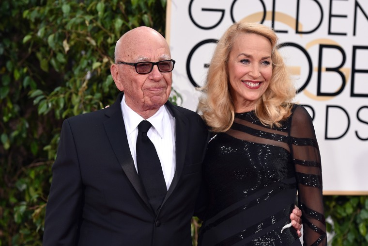 News Corp. CEO Rupert Murdoch (L) and model Jerry Hall attend the 73rd Annual Golden Globe Awards held at the Beverly Hilton Hotel on Jan. 10, 2016 in Beverly Hills, Calif. (Photo by John Shearer/Getty)