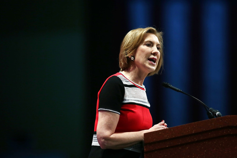 Republican presidential candidate Carly Fiorina speaks during the Sunshine Summit conference being held at the Rosen Shingle Creek on Nov. 14, 2015 in Orlando, Fla. (Photo by Joe Raedle/Getty)