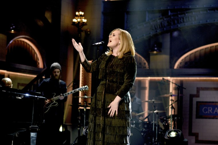 Musical guest Adele performs on Saturday Night Live on Nov. 21, 2015. (Photo by Dana Edelson/NBC/NBCU Photo Bank/Getty)