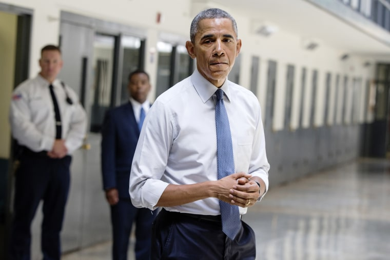 President Barack Obama pauses as he speaks at the El Reno Federal Correctional Institution, Okla., July 16, 2015. (Photo by Evan Vucci/AP)