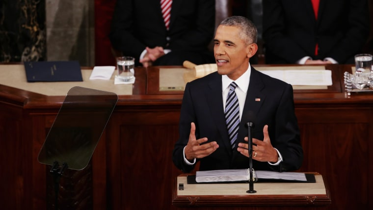 U.S. President Barack Obama delivers the State of the Union speech before members of Congress in the House chamber of the U.S. Capitol Jan. 12, 2016 in Washington, DC. (Photo by Alex Wong/Getty)