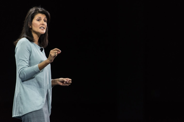 South Carolina Gov. Nikki Haley speaks to the crowd at the Kemp Forum, Jan. 9, 2016, in Columbia, S.C. (Photo by Sean Rayford/AP)