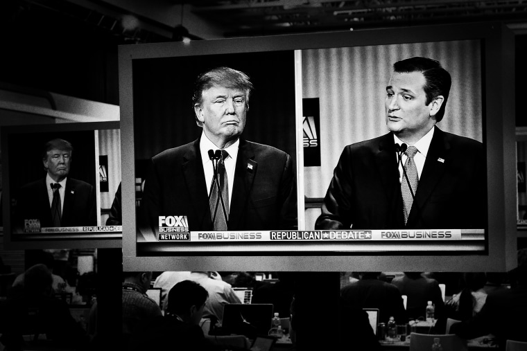 Donald Trump and Ted Cruz argue on-screen at the Republican Presidential debate in North Charleston, S.C. on Jan. 14, 2016. (Photo by Mark Peterson/Redux for MSNBC)