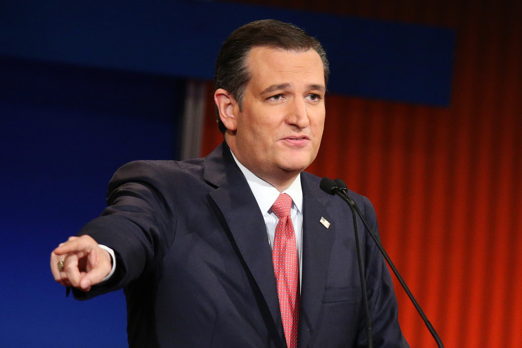 Republican presidential candidate Sen. Ted Cruz (R-TX) participates in the sixth Republican presidential debate on Jan. 14, 2016 in North Charleston, S.C. (Photo by Scott Olson/Getty)