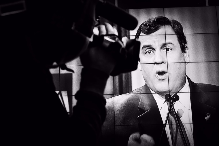 Chris Christie appears on-screen at the Republican Presidential debate in North Charleston, S.C. on Jan. 14, 2016. (Photo by Mark Peterson/Redux for MSNBC)