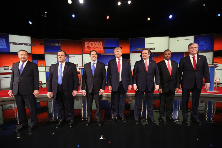 Republican presidential candidates line up before the sixth Republican presidential debate at the North Charleston Coliseum and Performing Arts Center in S.C., Jan. 14, 2016. (Photo by Andrew Burton/Getty)