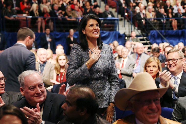 Governor of South Carolina Nikki Haley waves to the crowd prior to watching the sixth Republican presidential debate at the North Charleston Coliseum and Performing Arts Center in S.C., Jan. 14, 2016. (Photo by Andrew Burton/Getty)