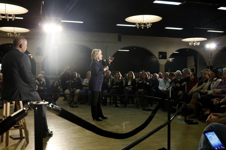 U.S. Democratic presidential candidate Hillary Clinton addresses supporters at the Electric Park Ballroom in Waterloo, Ia., Jan. 11, 2016. (Photo by Aaron P. Bernstein/Reuters)