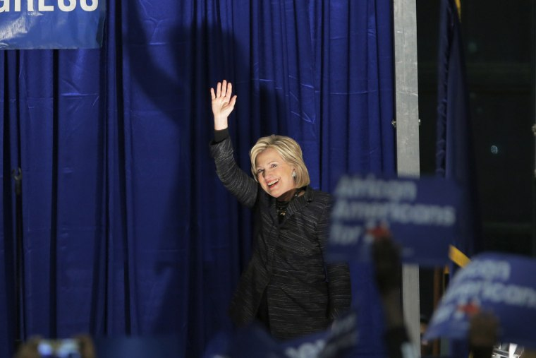 U.S. Democratic presidential candidate Hillary Clinton waves as she is announced on the stage during Jim Clyburn's Annual Fish Fry in Charleston, S.C., Jan. 16, 2016. (Photo by Chris Keane/Reuters)