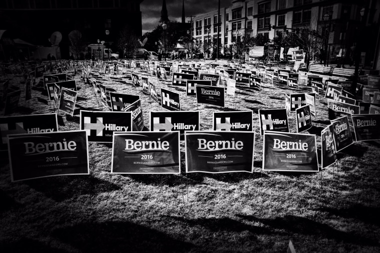 Political signs supporting Hillary Clinton and Bernie Sanders in Charleston on January 17, 2016.