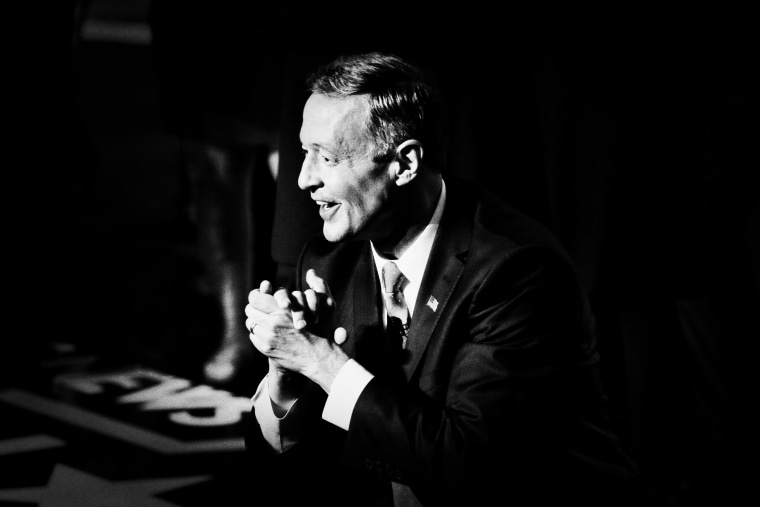 Democratic presidential candidate, Martin O'Malley greets the audience after the NBC, YouTube Democratic presidential debate at the Gaillard Center, January 17, 2016, in Charleston, S.C.
