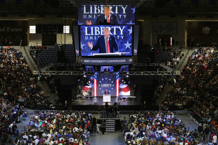 Republican presidential candidate Donald Trump delivers the convocation at the Vines Center on the campus of Liberty University Jan. 18, 2016 in Lynchburg, Va. (Photo by Chip Somodevilla/Getty)