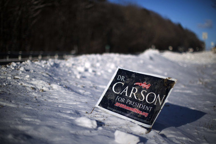A sign is posted in newly fallen snow for Republican presidential candidate Dr. Ben Carson, Jan. 13, 2016, along a roadside in Peterborough, N.H. (Photo by Matt Rourke/AP)