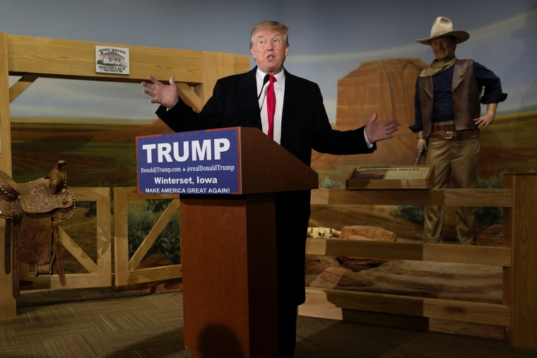 Republican presidential candidate Donald Trump speaks at the John Wayne Birthplace Museum on Jan. 19, 2016 in Winterset, Iowa. (Photo by Aaron P. Bernstein/Getty)
