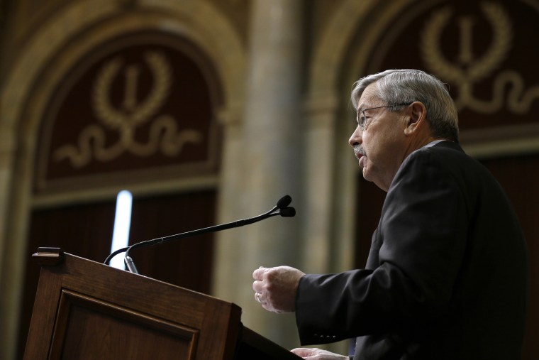 Iowa Gov. Terry Branstad delivers his annual Condition of the State address before a joint session of the Iowa Legislature, Jan. 12, 2016, at the Statehouse in Des Moines, Iowa. (Photo by Charlie Neibergall/AP)