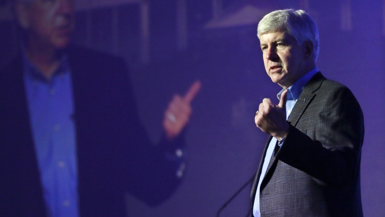 Michigan Gov. Rick Snyder addresses attendees during the 2016 Mackinac Republican Leadership Conference, Sept. 18, 2015, in Mackinac Island, Mich. (Photo by Carlos Osorio/AP)