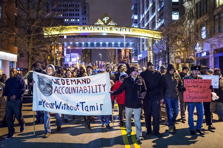 A group of protestors march on Huron Road on Dec. 29, 2015 in Cleveland, Ohio. (Photo by Angelo Merendino/Getty)