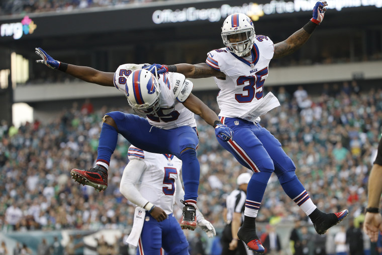 Buffalo Bills' LeSean McCoy (25) and Mike Gillislee (35) celebrate after Gillislee's touchdown during the second half of an NFL football game against the Philadelphia Eagles, Dec. 13, 2015, in Philadelphia. (Photo by Matt Rourke/AP)