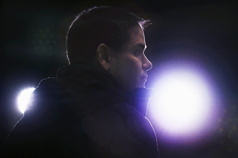 Republican presidential candidate, Sen. Marco Rubio, R-Fla. speaks during a campaign stop at a welding company in Brookline, N.H., Jan. 21, 2016. (Photo by Charles Krupa/AP)