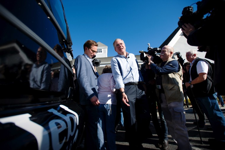 Republican presidential candidate Jeb Bush walks back to his bus after visiting Hollis Pharmacy in Hollis, N.H., Nov. 4, 2015. (Photo by Gretchen Ertl/Reuters)