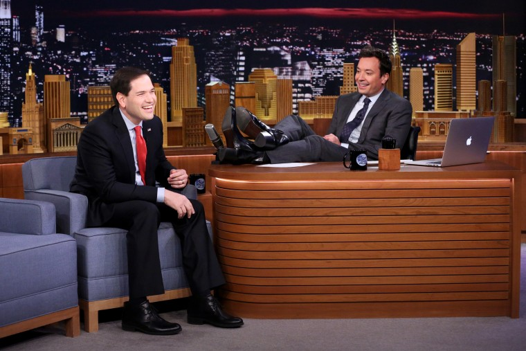 Senator Marco Rubio laughs during an interview with Jimmy Fallon on The Tonight Show, Jan. 21, 2016. (Photo by Andrew Lipovsky/NBC)