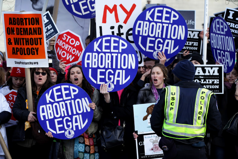 Pro-choice activists shout slogans before the annual March for Life passes by the U.S. Supreme Court, Jan. 22, 2015 in Washington, DC. (Photo by Alex Wong/Getty)