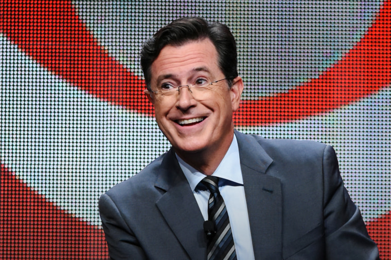 "In this Aug. 10, 2015 file photo, Stephen Colbert participates in the ""The Late Show with Stephen Colbert"" segment of the CBS Summer TCA Tour in Beverly Hills, Calif. (Photo by Richard Shotwell/Invision/AP)"