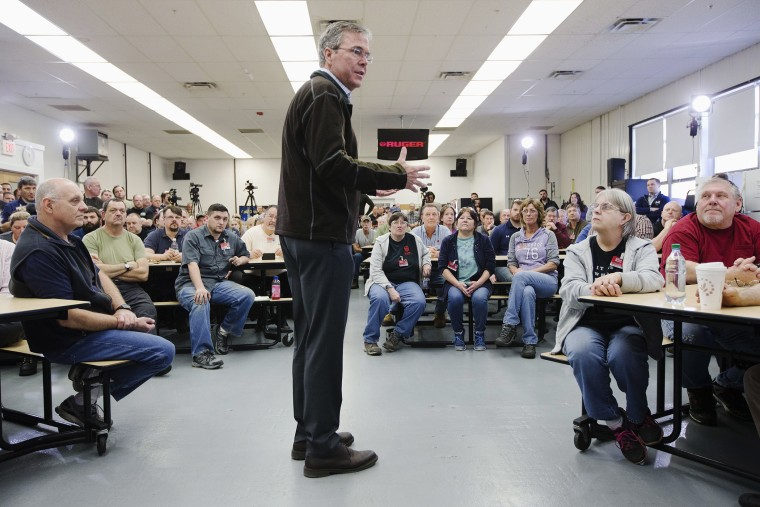 Republican presidential candidate, former Florida Gov. Jeb Bush, center, speaks during a campaign stop at Sturm, Ruger & Co. Inc., Jan. 21, 2016, in Newport, N.H. (Photo by John Minchillo/AP)