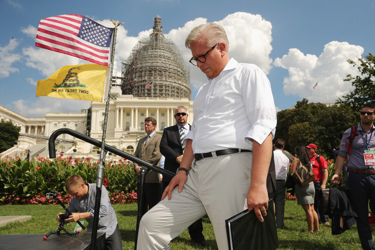 Conservative pundit Glenn Beck prepares to take the stage during a rally against the Iran nuclear deal on the West Lawn of the U.S. Capitol, Sep. 9, 2015 in Washington, DC. (Photo by Chip Somodevilla/Getty)