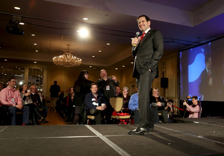 U.S. Republican presidential candidate and U.S. Senator Marco Rubio smiles as he takes questions after speaking at the New Hampshire GOP's FITN Presidential town hall in Nashua, N.H., Jan. 23, 2016. (Photo by Mary Schwalm/Reuters)