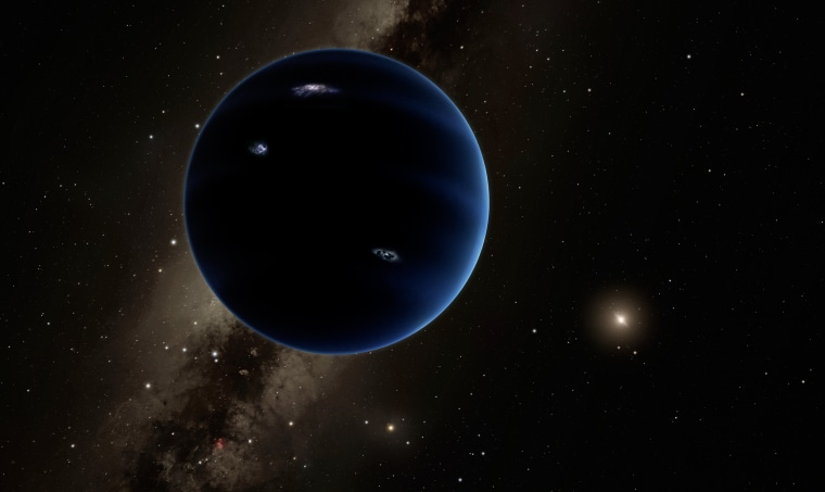 This artistic rendering shows the distant view from Planet Nine back towards the sun. The planet is thought to be gaseous, similar to Uranus and Neptune. Hypothetical lightning lights up the night side.