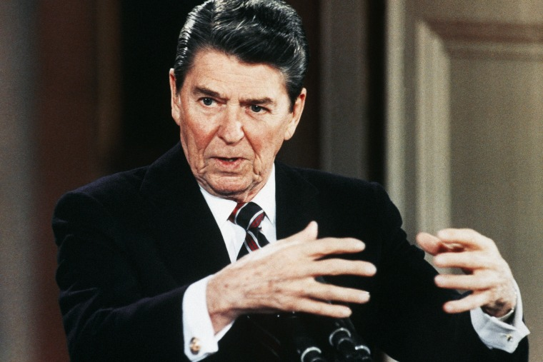 President Ronald Reagan speaks during a news conference at the White House in January, 1986.