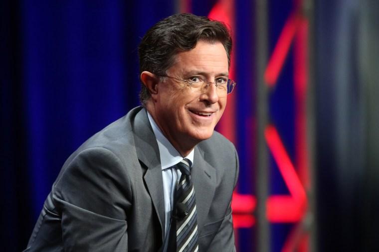 Stephen Colbert speaks onstage. (Photo by Frederick M. Brown/Getty)