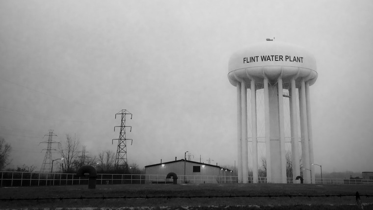 This Jan. 21, 2016 photo shows the water tower at the Flint, Mich., water plant. (Photo by Perry Rech/American Red Cross/AP)